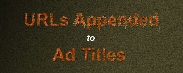 URLs Appended To Ad Titles